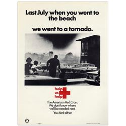 Original 1960's Red Cross Disaster Poster for a Tornado