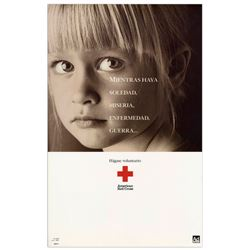 Original Red Cross Spanish Poster re War w Little Girl