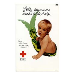 Original Red Cross Poster re Water Safety for Babies