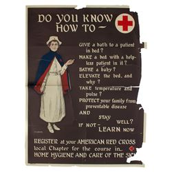 Vintage Red Cross Poster With Anna Milo Upjohn Art 1920