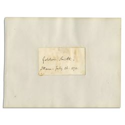 Goldwin Smith Signature, Autograph, Signed, Dated 1870