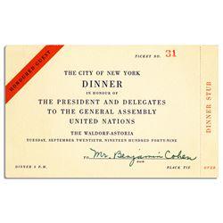 United Nations Dinner Invitation 20 September 1949