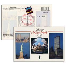 September 11, 2001 Postmarked World Trade Postcard