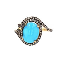 Turquoise & Brilliant Diamond14k Yellow Gold Ring