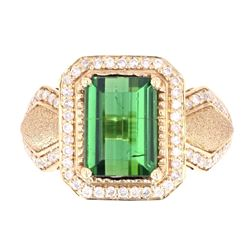 Green Tourmaline and Diamonds Set in 14K Ring