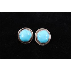Navajo Sleeping Beauty Turquoise Sterling Earrings