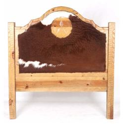 Western Steer Hide Upholstered Hewn Wood Queen Bed