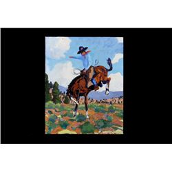 Original Wyoming Cowboy Oil by Tom Waugh 1977