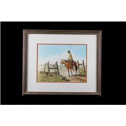 Original Western Cowboy Watercolor C. Winoate 1975