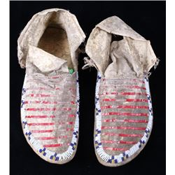 Sioux Quilled & Beaded Hide Moccasins c. 1870-1880
