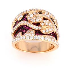 Hot Pink Ruby & Diamond 18k Yellow Gold Ring