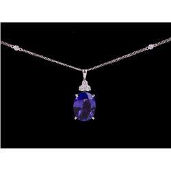 Tanzanite & Diamond 14K Gold Pendant Necklace