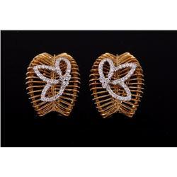 Diamond & 18k Gold Basket Clip Stud Earrings