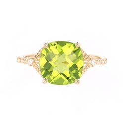Green Peridot & Diamond 14K Gold Ring