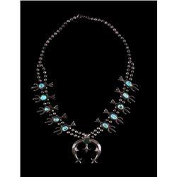 Navajo Sandcast Silver & Turquoise Squash Necklace