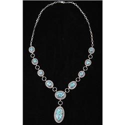 Navajo Alvin Joe Mojave Turquoise Silver Necklace