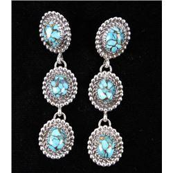 Navajo Alvin Joe Mojave Turquoise Silver Earrings