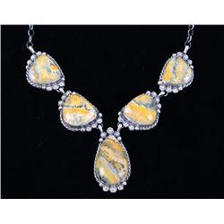 Navajo B. Lee Bumble Bee Jasper & Silver Necklace