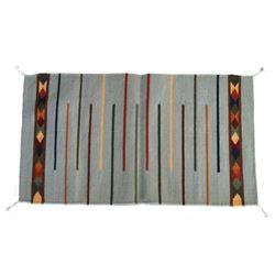 Lineas Turquoise Churro Wool Rug by Tony Ruiz