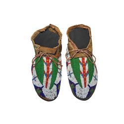 Sioux Beaded Hide Hard Soled Moccasins 1860-1880's