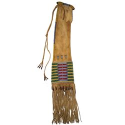 "Cheyenne Beaded ""Four Tab"" Pipe Bag 19th Century"