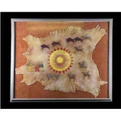 Kiowa Buffalo Pinwheel Painted Hide Dau-Law-Taine