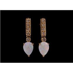 Australian Opal & Round Diamond 14k Gold Earrings