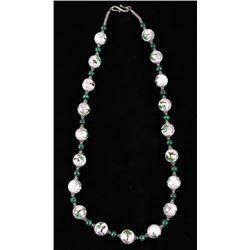 Cloissoné & Malachite Sterling Silver Necklace