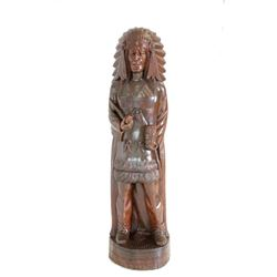 Early Solid Wood Carved Cigar Store Indian Chief