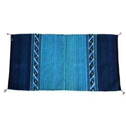 Cadenas Blue Wool Rug by Alicia Gutierrez