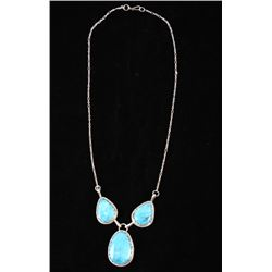 Navajo Stormy Mountain Turquoise Sterling Necklace