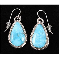 Navajo Stormy Mountain Turquoise Sterling Earrings
