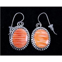 Navajo Herbert Tsosie Spiny Oyster Silver Earrings
