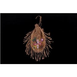 Crow Whimsical Beaded Tobacco Belt Pouch c. 1800's