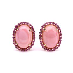 Pink Queen Conch Pearl & Pink Sapphire Earrings