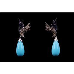 Turquoise Blue Sapphire Diamond 14k Gold Earrings
