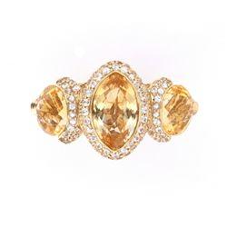Citrine Yellow & White Sapphire 14k Gold Ring