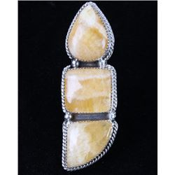 Navajo Montana Yellow Agate Sterling Silver Ring