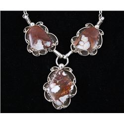 Navajo B. Tsosie Brown Agate & Sterling Necklace