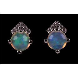 Ethiopian Opal & Diamond 10k White Gold Earrings