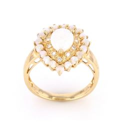 Australian Opal & Diamond Ring 14k Gold