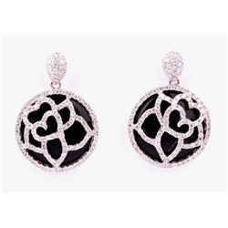 Onyx & Round Cut Diamond 14k White Gold Earrings