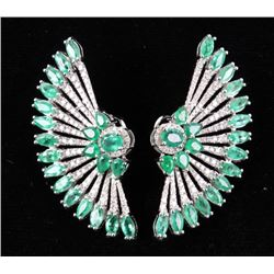 Great Gatsby Peacock Feather Emerald 18K Earrings