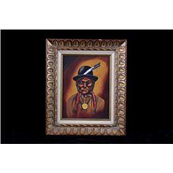 "1973 Peter J. Hawper ""Native Man"" Acrylic Portrait"