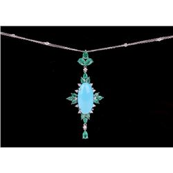 Turquoise & Emerald 18k White Gold Necklace