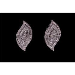 Diamond Flame Set Modern 18k White Gold Earrings