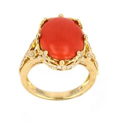 Polished Coral & Diamond  18k Gold Crown Ring