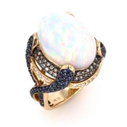 Ethiopian Opal & Blue Sapphire 14k Gold Ring
