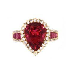 Rubellite Tourmaline & Diamond 18k Gold Ring