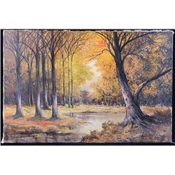Original Signed Fall Forest Landscape Oil Painting